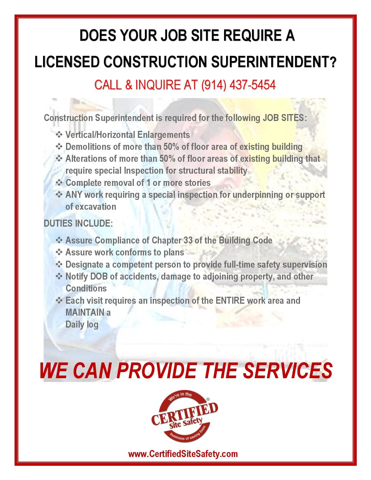 If Youu0027re Looking To Hire A Licensed Construction Superintendent For Your  Current Job Site, Contact Us Here At Certified Site Safety For More  Information.